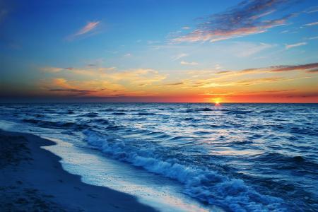 景观,日落,自然,海岸,冲浪,夏天,热