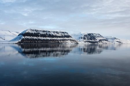 山,反射,水