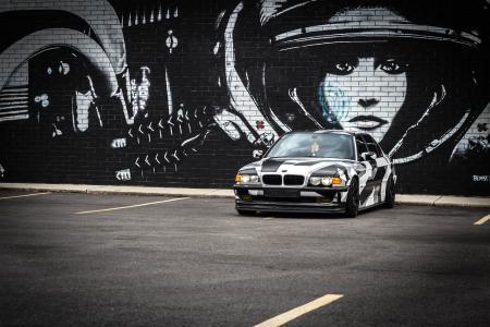 宝马,e38,超级跑车,调音,墙壁,涂鸦
