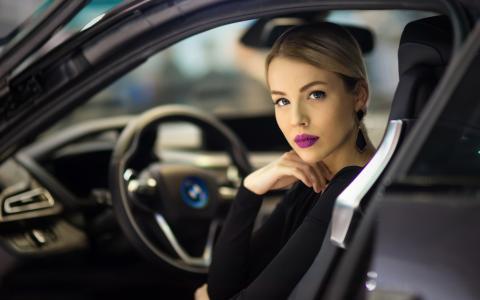 汽车,女孩,化妆,女人,嘴唇