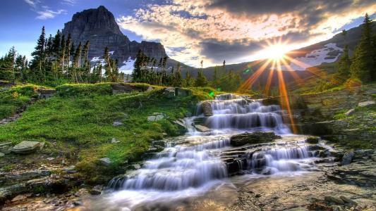 山水太阳房子风景图片
