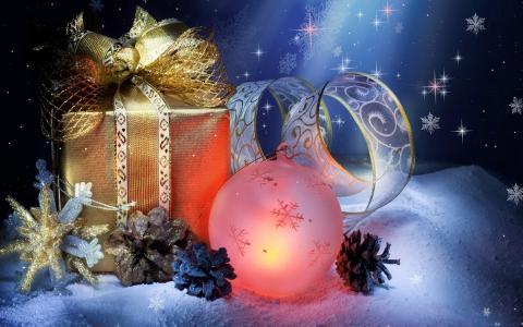 新年的组成,球,礼物