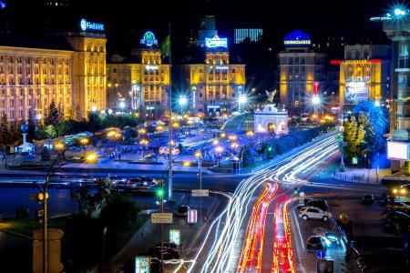 基辅,首都,乌克兰,独立广场,Україна,Київ,МайданNezalezhnostі,夜晚的城市,夜景,背景