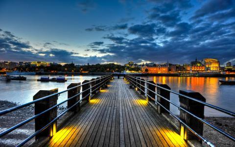 英格兰,暮光之城,英国,河流,泰晤士河,伦敦,码头