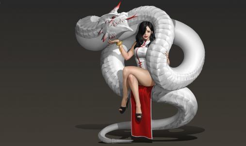 幻想,艺术,灰色的背景,蛇,少女