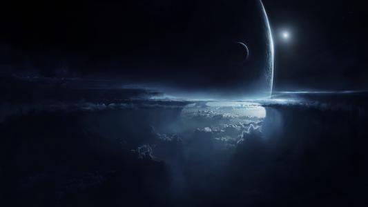 行星,晚上,气氛,同伴,天空,云,艺术