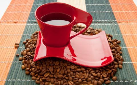 喝,杯,咖啡豆,咖啡