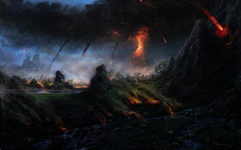 火山,熔岩,树木,山脉,烟雾