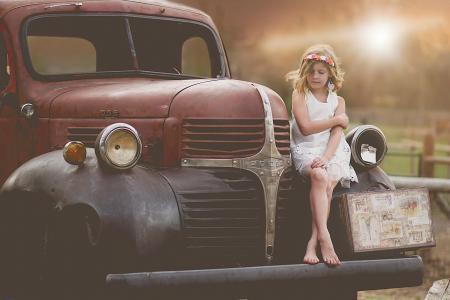 道奇,女孩,复古,手提箱,汽车,儿童模型,儿童摄影