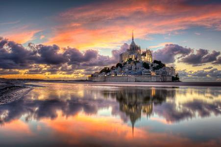 法国,诺曼底,城市,岛屿要塞,圣米歇尔山,山,大天使迈克尔,晚上,云