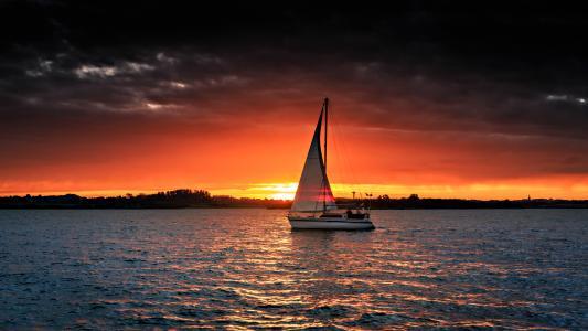 自然,水,游艇,早上,黎明