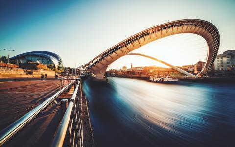城市,河,桥,英格兰