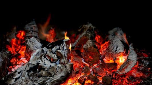 阴燃,柴火,灰烬,火,火