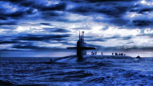 海,潜艇,人
