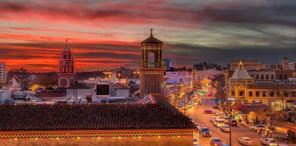 城市,晚上,灯光,照明,房屋,天空,建筑物,汽车,美容