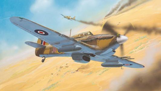 战争,沙漠,艺术,小贩,飓风mk ii,绘图,战斗机