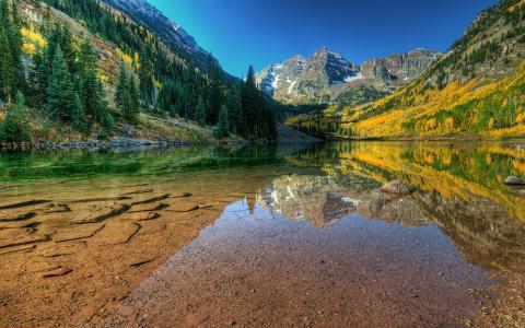 水,湖,透明度,石头,秋天,山