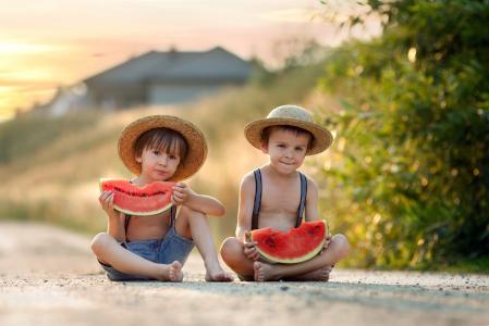 孩子,男孩,帽子,西瓜,夏天