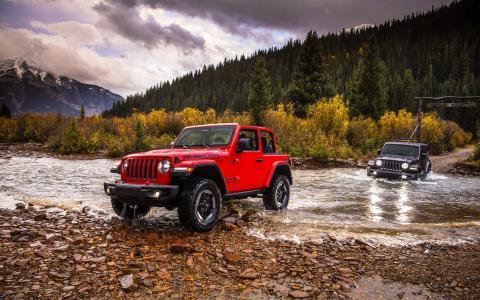 吉普车,超级跑车,河流,山脉,森林,秋天