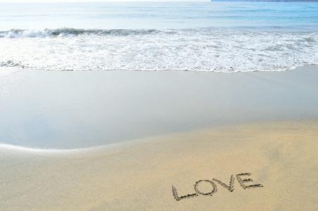 海,沙,沙滩,爱情