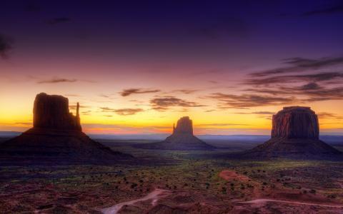 峡谷,日落,太阳,云