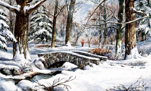 冬天,桥,树,雪,河