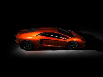 兰博基尼aventador,兰博基尼,aventador,橙色,背景