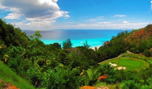 天空,海滨,塞舌尔,盛大Anse普拉兰岛,云彩,自然,高尔夫球