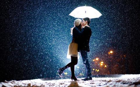 男孩,女孩,恋人,在伞下,下雪,晚上