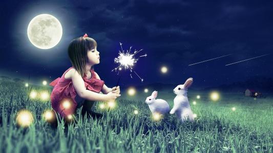 女孩,野兔,晚上,月亮,蒲公英,小屋,灯