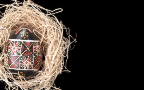 鸡蛋,黑色,复活节,巢,背景