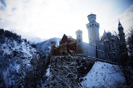 阿尔卑斯山,德国,新天鹅堡,巴伐利亚,冬季,阿尔卑斯山,德国,新天鹅堡,Bovari,冬季