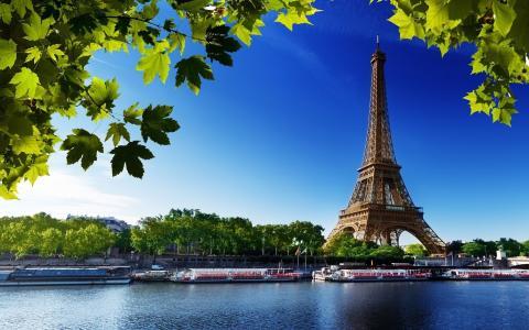 埃菲尔,塔,城市,巴黎,法国,水,船,河