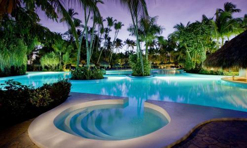 酒店,度假村,晚上,游泳池,度假,家和舒适,手掌,美丽,夏天
