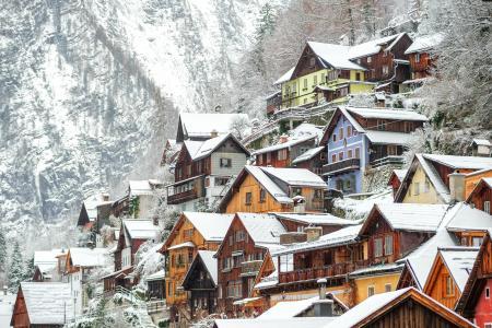 奥地利,房子,冬天,哈尔施塔特,雪,城市