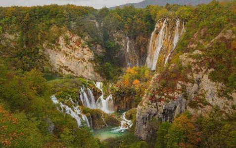 十六湖,瀑布,树木,湖泊,美景,高山,绿树
