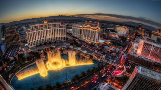 拉斯维加斯,美国,内华达州,贝拉吉奥,喷泉,旅行,休息,夕阳,灯光,晚上,预订,赌场