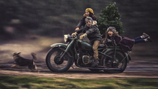 孩子,摩托车,树,照片,亚当Wawrzyniak,积极