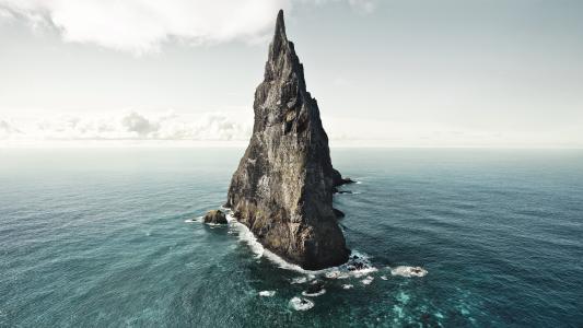 岩,海洋,水,天空,自然,云,水,景观,自然,澳大利亚,球金字塔,岛,海景,岩石
