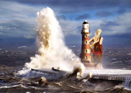 主题,photoshop,创意,海,灯塔,风暴,波,多云,女孩,巨人