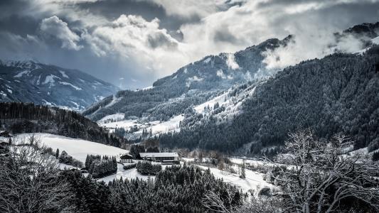 冬天,山,树,雪,云,村
