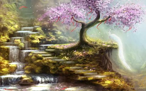 丘陵,瀑布,艺术,树,丝带,樱花