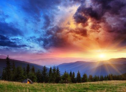 自然,山,树,天空,太阳,光线,首脑会议,黎明
