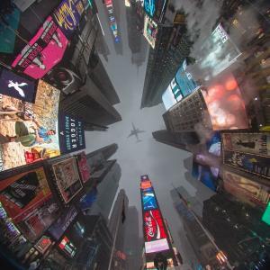 照片,说谎,城市,纽约,美国,天空,飞机,摩天大楼,广告