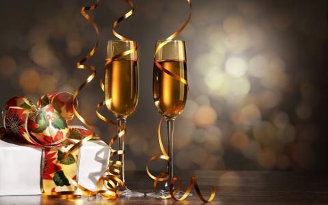 假期,新的一年,眼镜,香槟,框,礼物,蛇纹石,散景