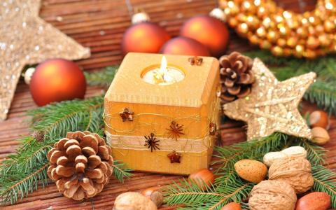 玩具,树枝,风光,云杉,新年,假期,新年,新年壁纸,蜡烛,坚果
