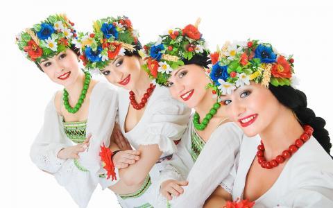 女孩,班,Ukrainka,白色背景