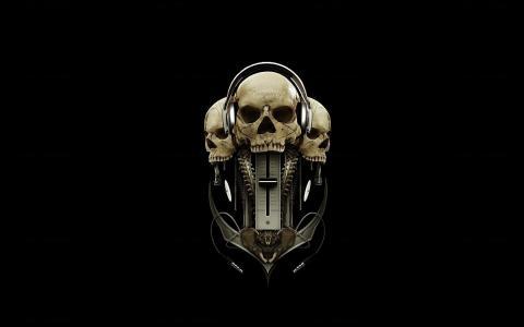 耳机,黑色背景,头骨