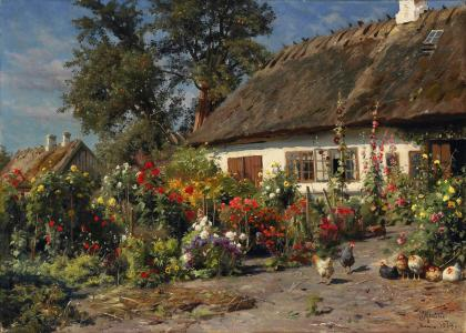 peder monsted,house,hut,chickens,flowers,1919
