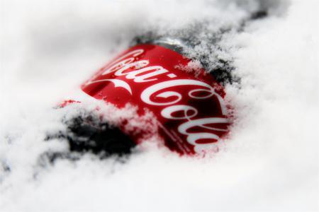 可口可乐,雪,瓶,冬天,可口可乐,品牌,饮料